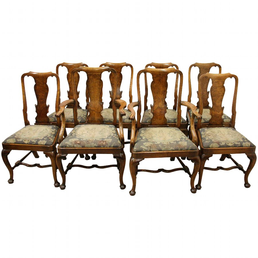 Set of 8 Queen Anne Style Figured Walnut Dining Chairs