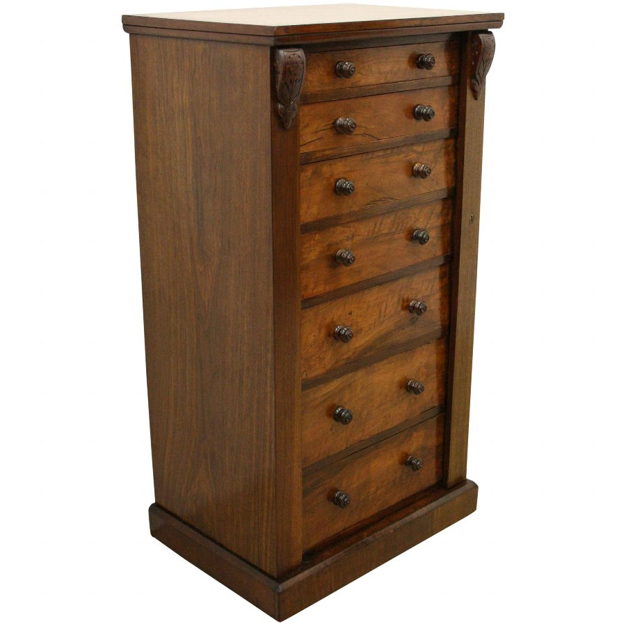 Mid Victorian Figured Walnut Wellington Chest