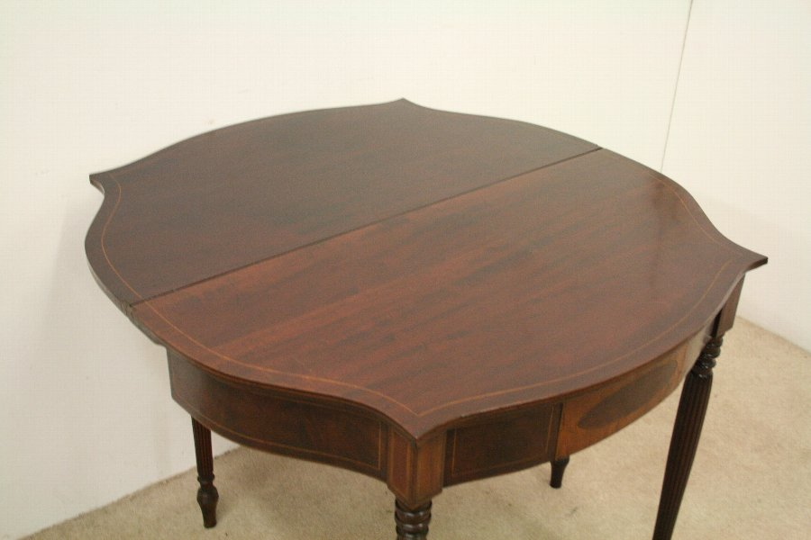 Antique Sheraton Style Fold Over Tea Table