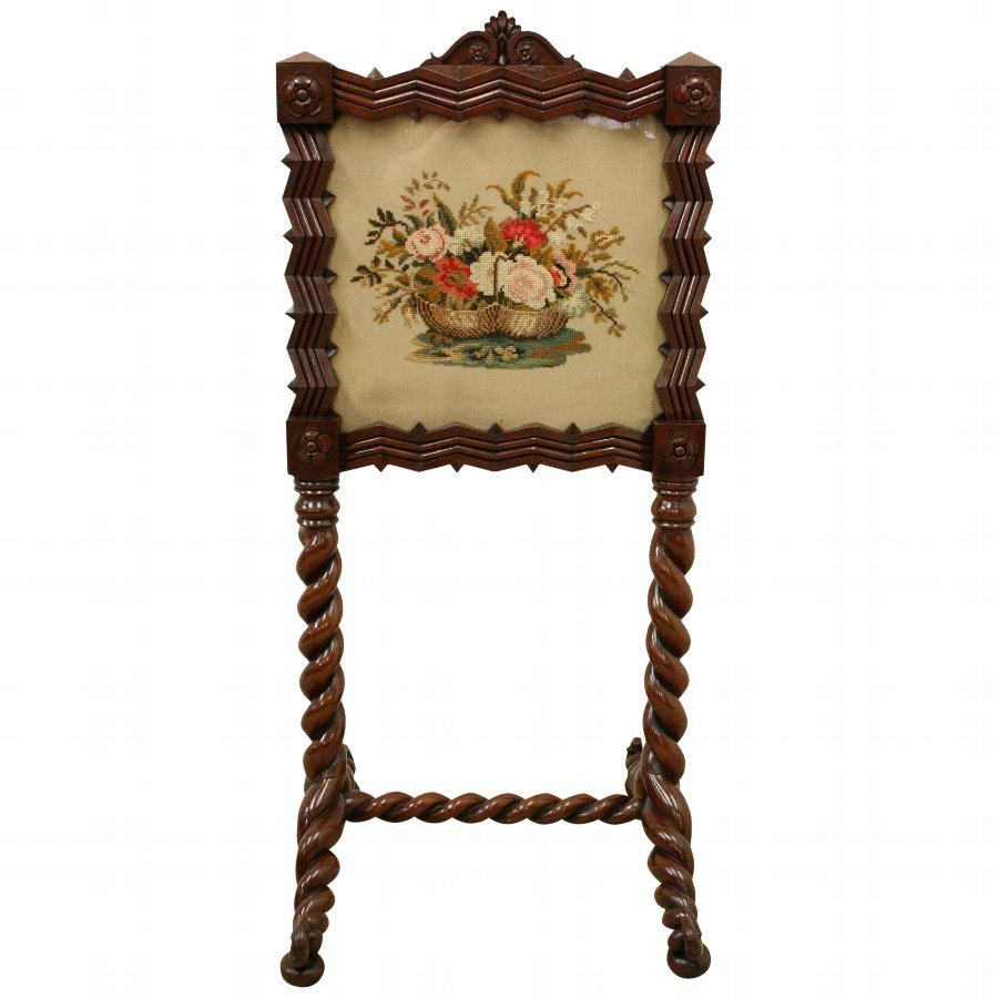 Victorian Double Sided Mahogany Fire Screen