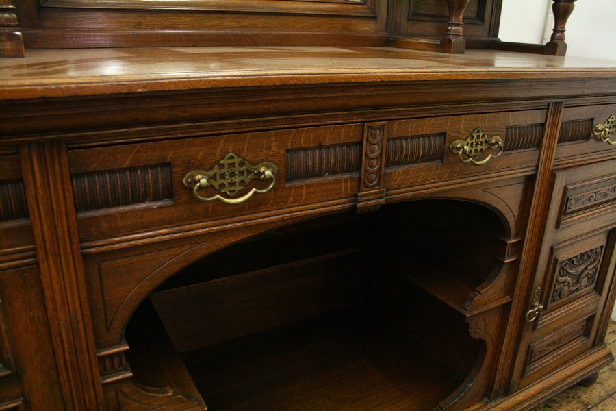 Antique Oak Mirror Back Sideboard
