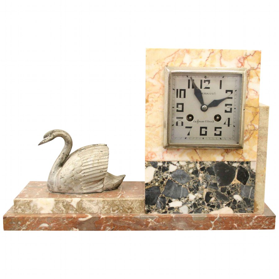 Metal, Chrome and Multi Marble Mantle Clock