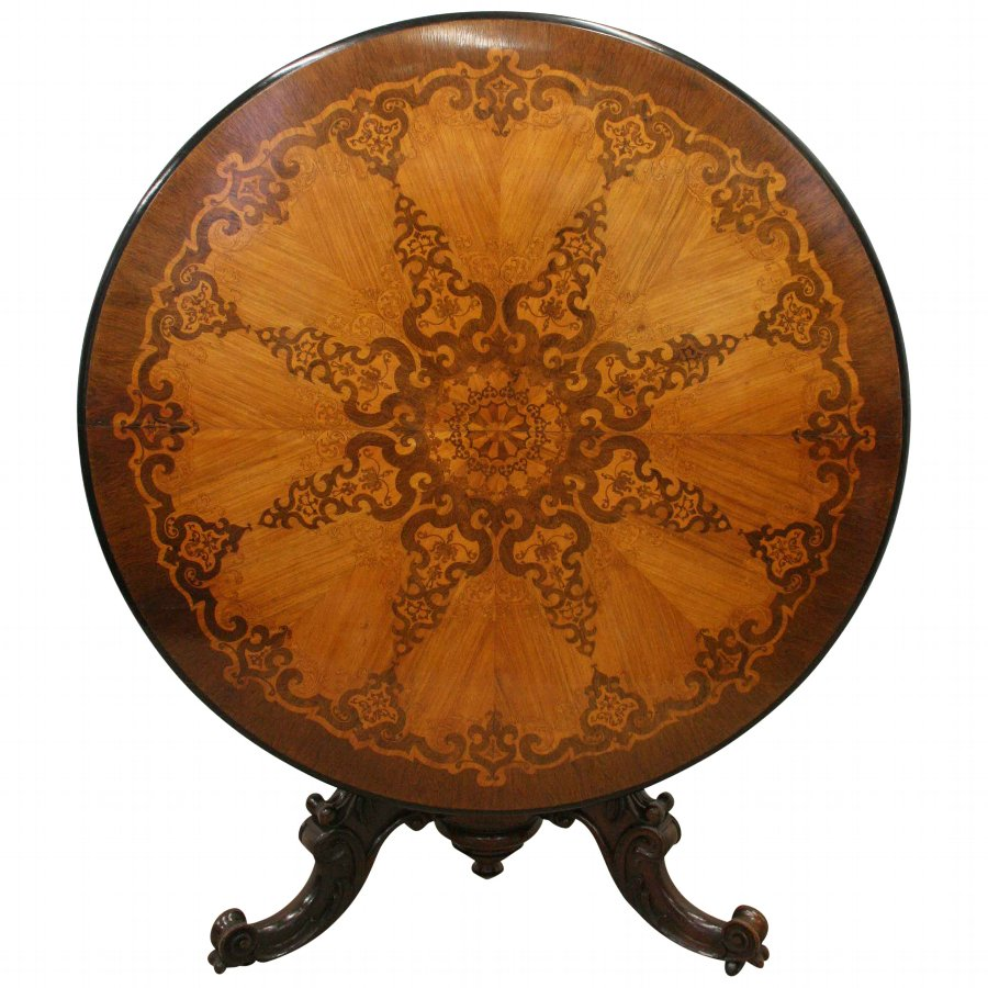 Victorian Marquetry Inlaid Circular Breakfast Table