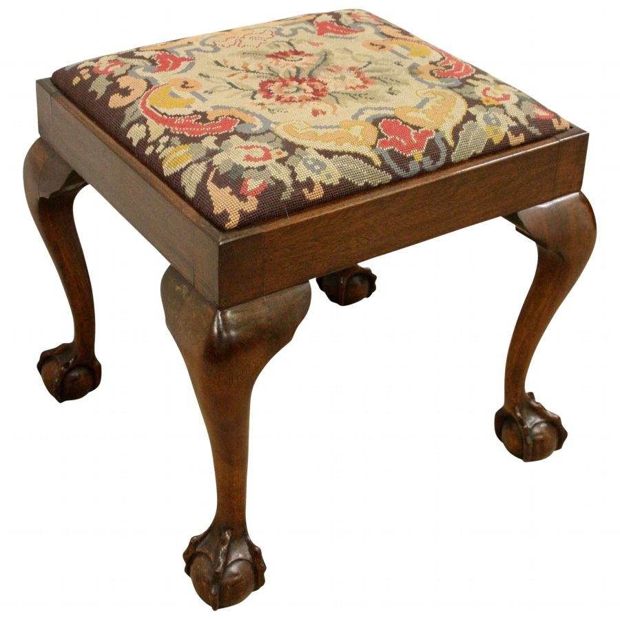 George II Style Mahogany Ball and Claw Stool