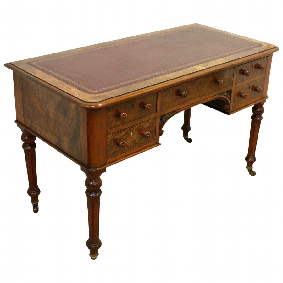 Victorian Walnut and Burr Walnut Writing or Library Table