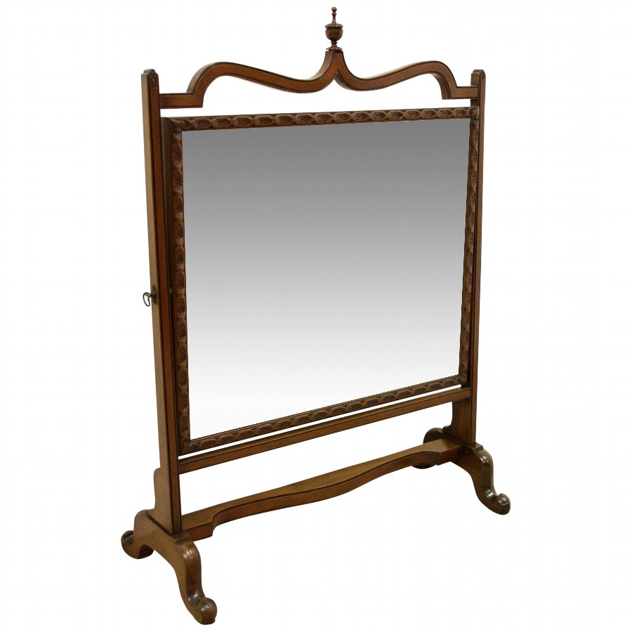 George III Style Mahogany Swivel Mirror