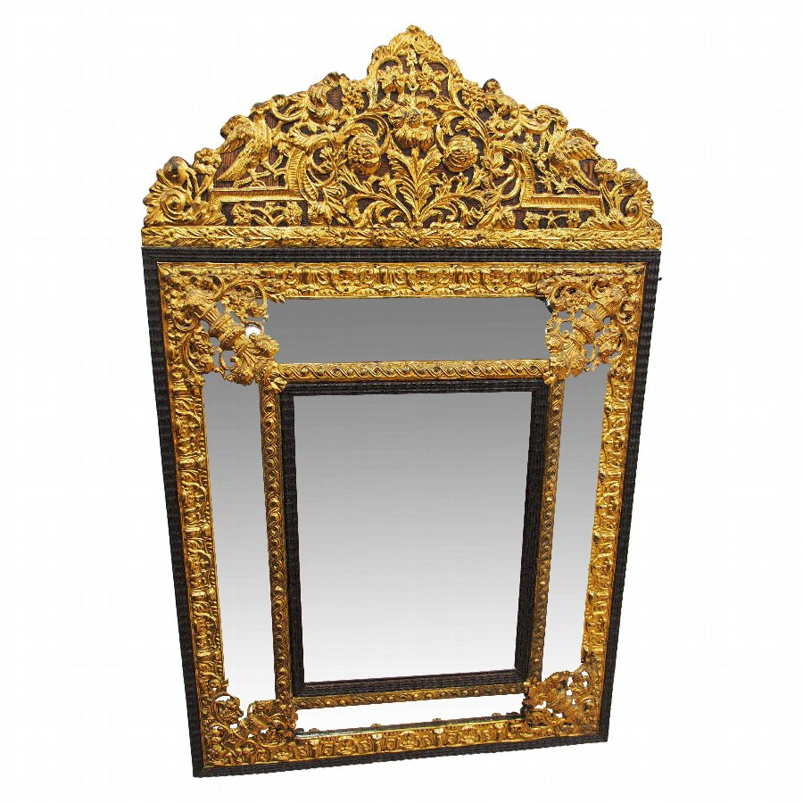 Embossed Brass and Ebony Mirror