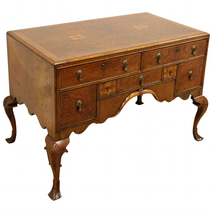 George II Style Walnut, Burr Walnut and Inlaid Dressing Table
