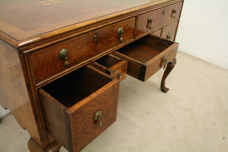 Antique George II Style Walnut, Burr Walnut and Inlaid Dressing Table