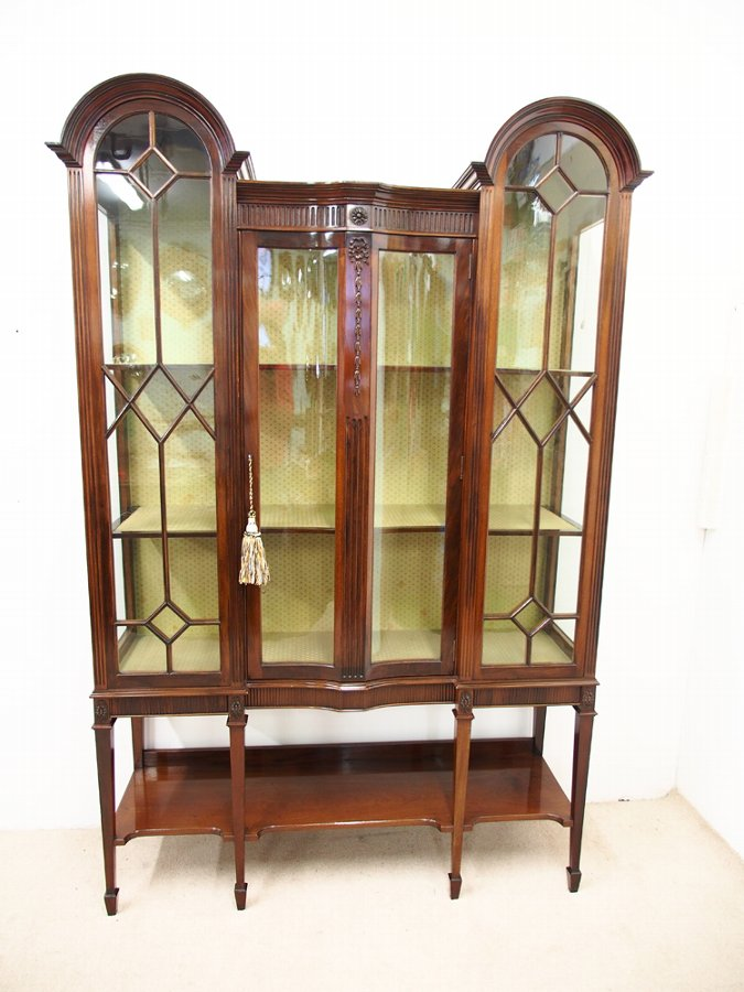 Antique Mahogany Display Cabinet by T. Justice & Sons, Dundee
