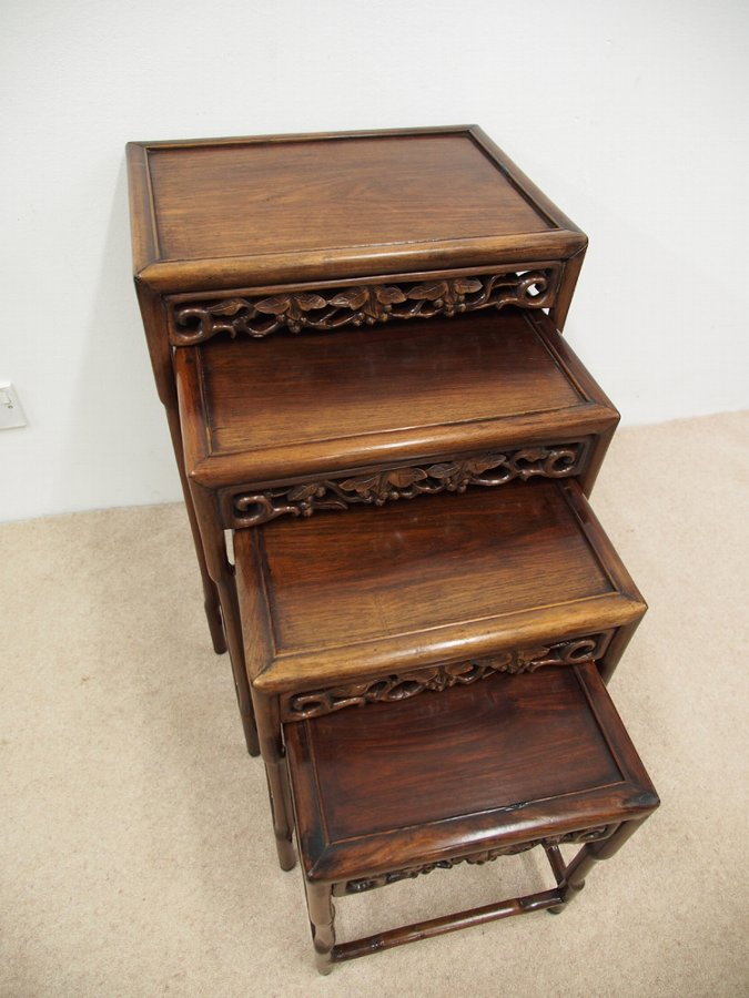 Antique Chinese Rosewood Quartetto of Tables