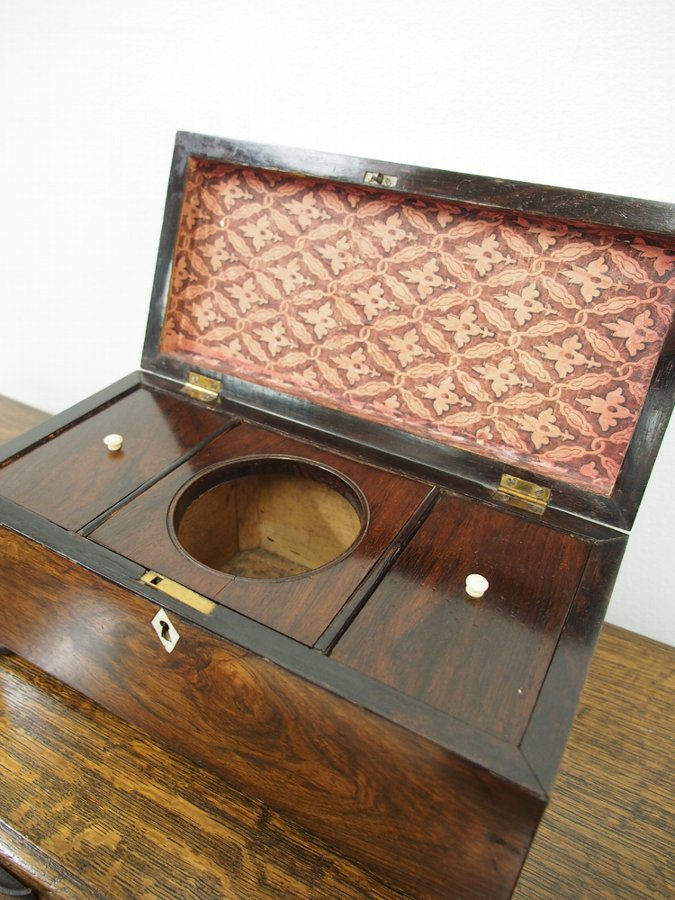 Antique William IV Rosewood Tea Caddy