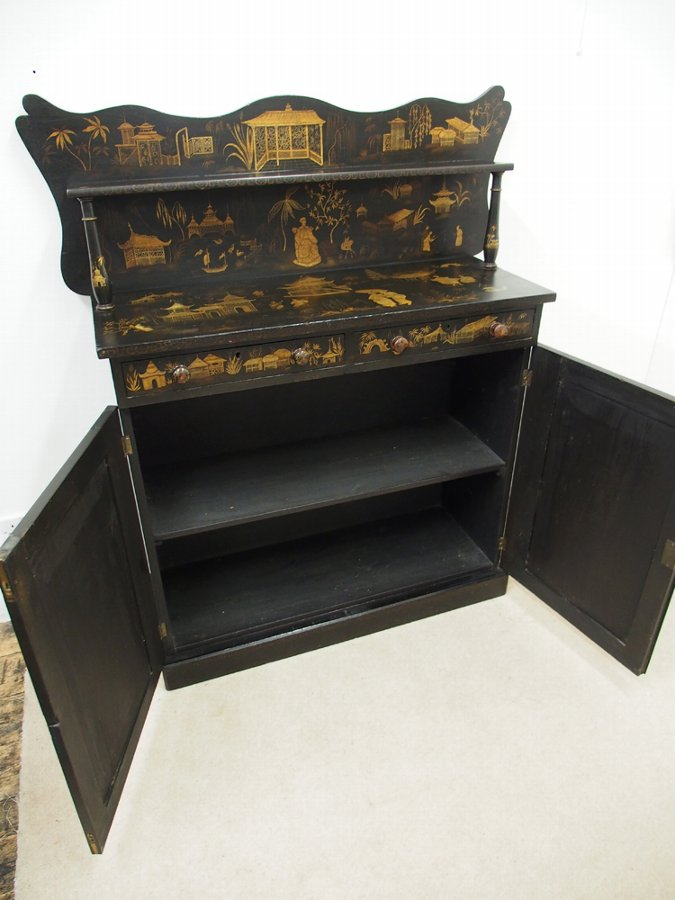 Antique Mid Victorian ebonised Japanese chiffonier