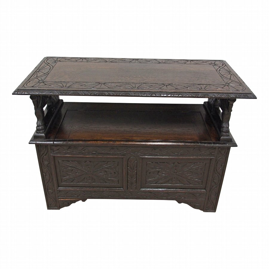 Late Victorian Carved Oak Monks Bench with Heraldic Carving