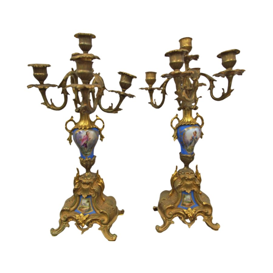 Pair of French Rococco Style Gilded and Porcelain Candelabra