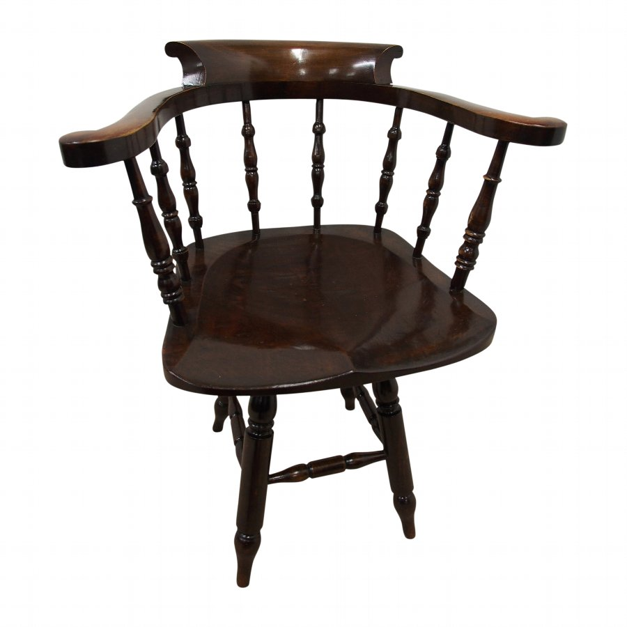 Solid Stained Beech Swivel Captains Chair