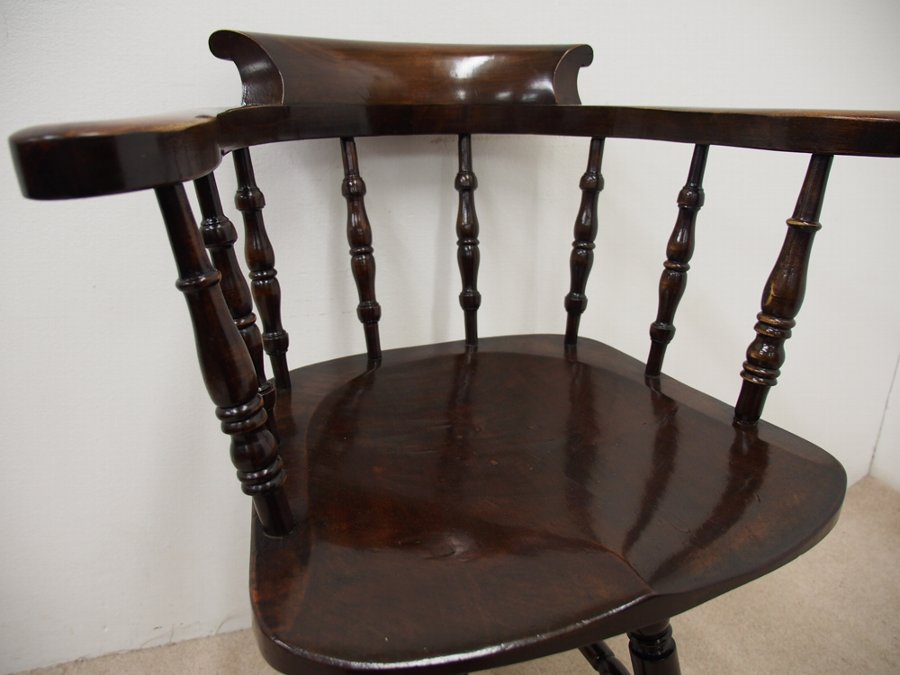Antique Solid Stained Beech Swivel Captains Chair