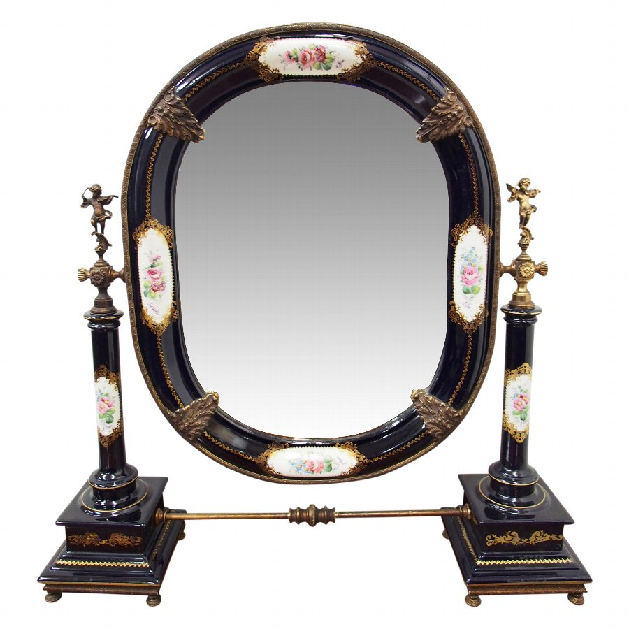 Italian Painted Porcelain Table Top Mirror