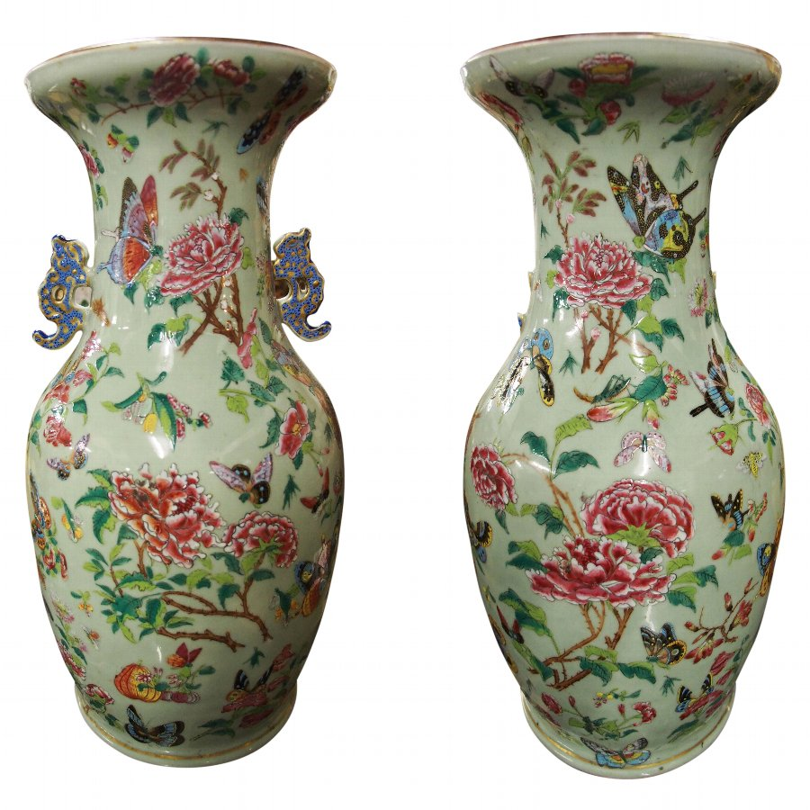 Pair of Family Rose Porcelain Vases