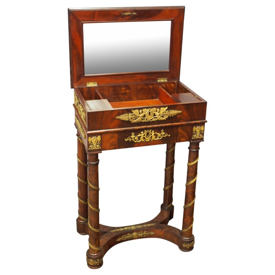 Late 19th Century Empire Revival Necessaire or Neat Dressing Table