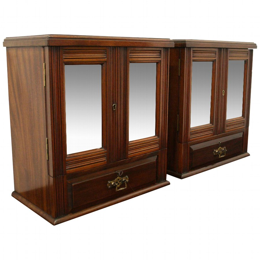 Pair of Mirror Door Cabinets