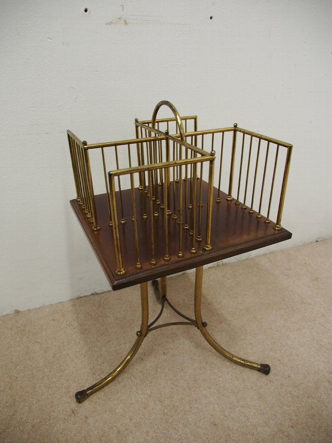 Antique Edwardian Brass and Mahogany Revolving Bookcase