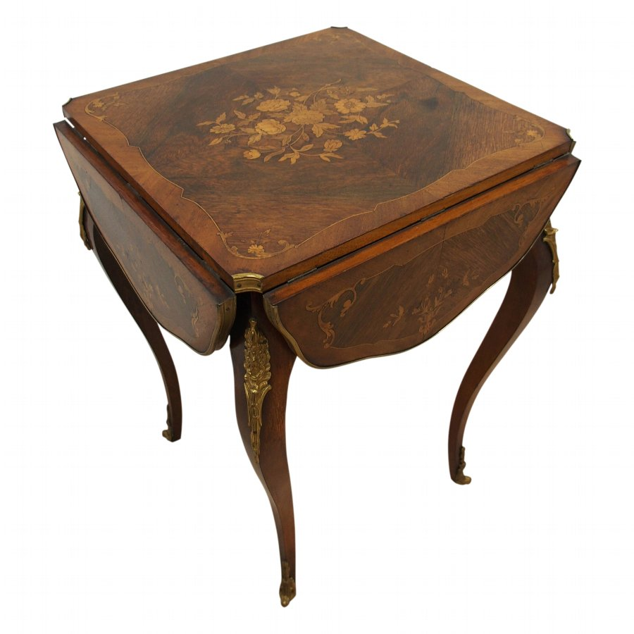 Late Victorian Walnut and Marquetry Inlaid Folding Card Table