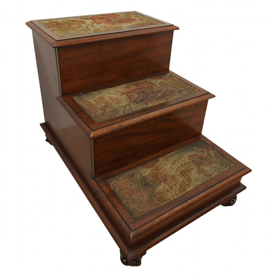 Set of Thread Mahogany Commode Steps