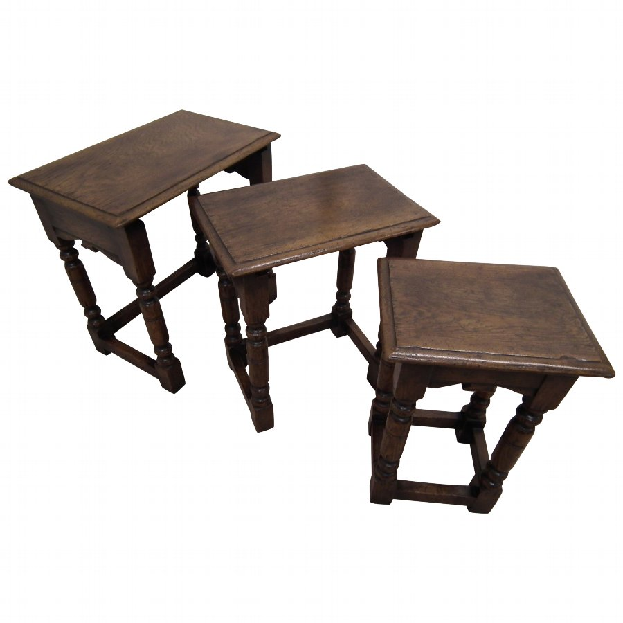 Jacobean Style Nest of 3 Oak Tables