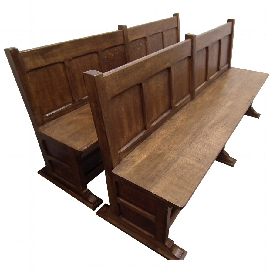 Pair of Edwardian Arts and Crafts Figured Oak Benches