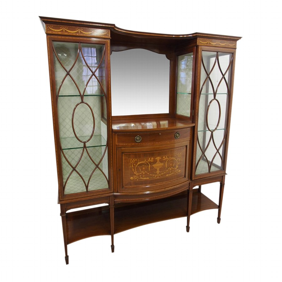 Sheraton Style Inlaid Display Cabinet