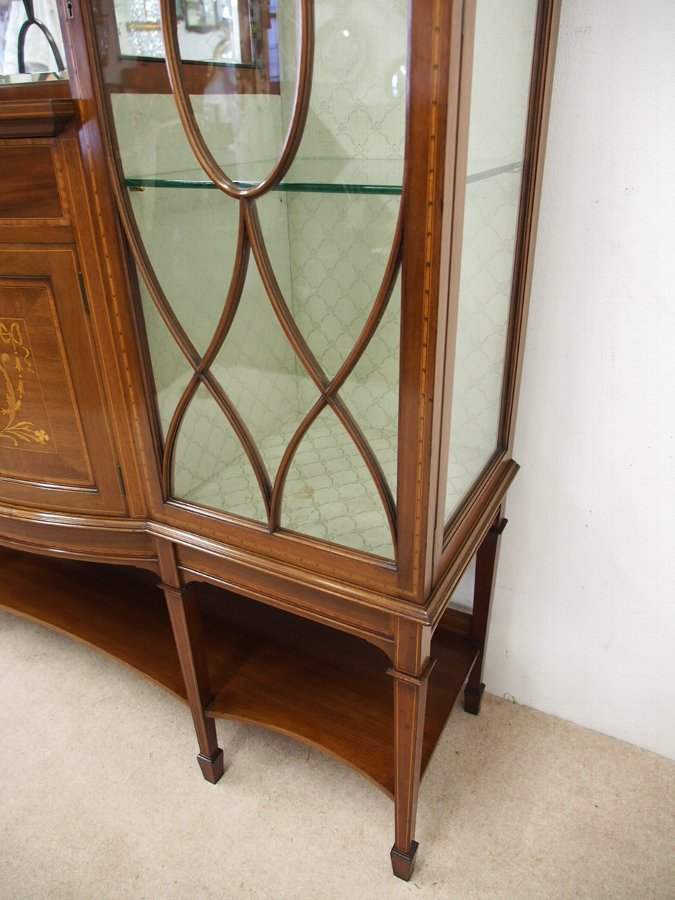 Antique Sheraton Style Inlaid Display Cabinet