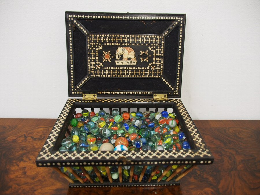 Antique Quill, Ebony and Mother of Pearl Inlaid Box / Letter Rack