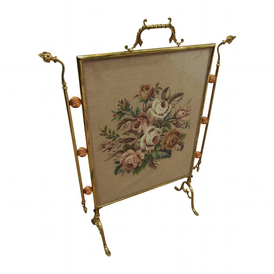 Art Nouveau Brass and Copper Fire Screen