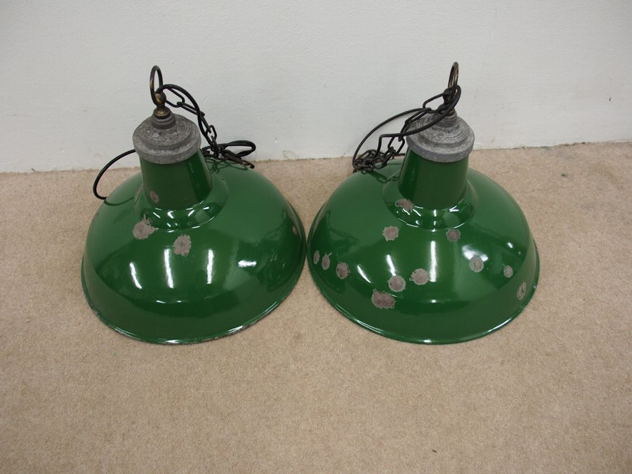Antique Set of 3 Enamel Industrial Lights