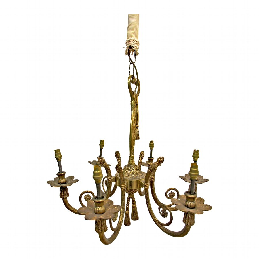 Continental Brass Chandelier with Decorated Porcelain Shades
