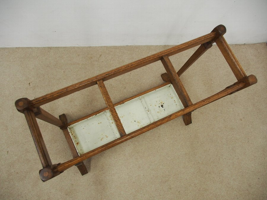 Antique Oak Arts and Craft Stick Stand