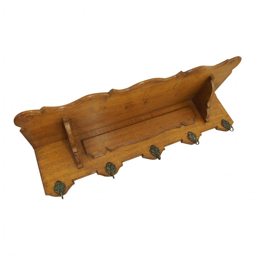Edwardian Oak Coat Rack