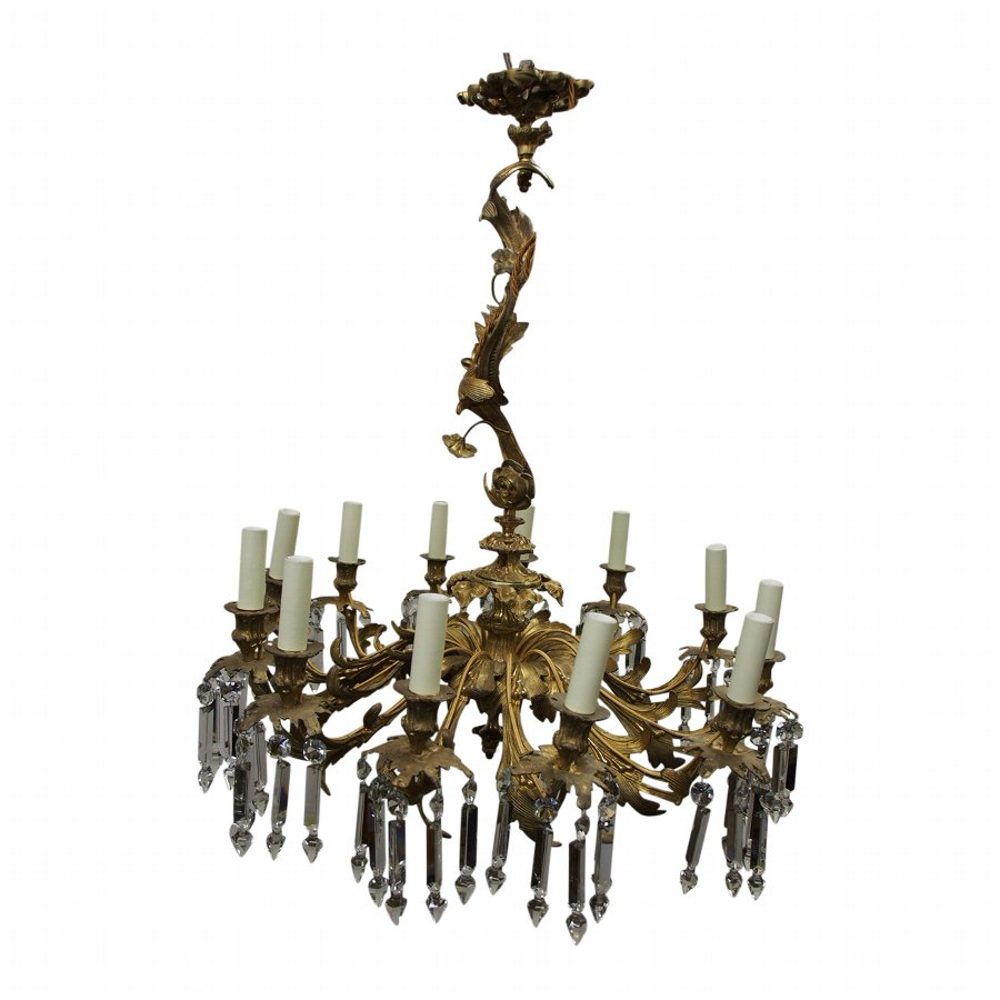 Crystal and Original Ormolu Mounted French Chandelier