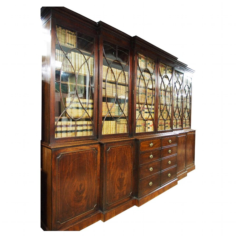 George III Mahogany Double Breakfront Cabinet Bookcase