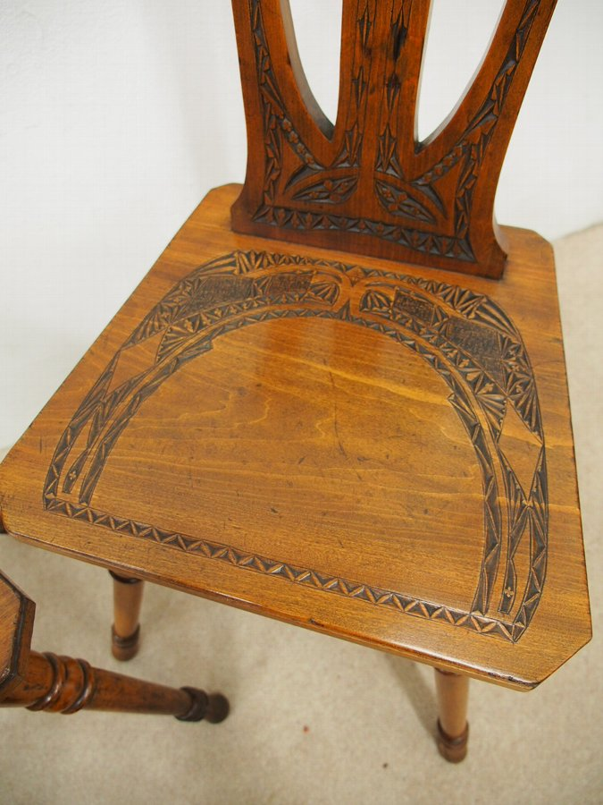 Antique Pair of Similar Art Nouveau Hall Chairs