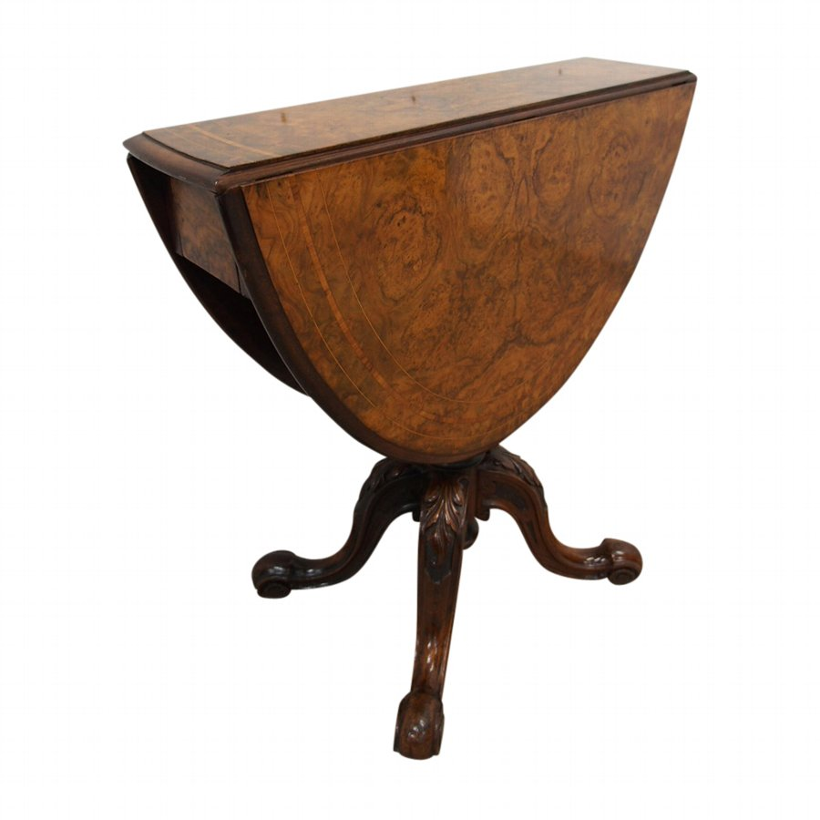Victorian Burr Walnut Drop Leaf Table