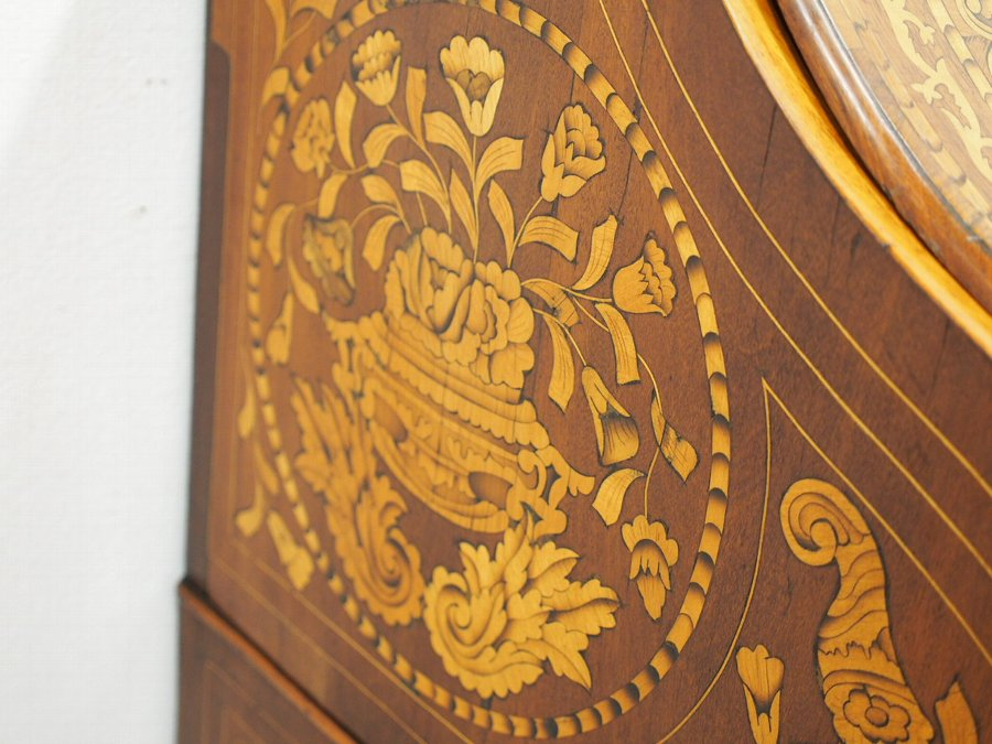 Antique Dutch Marquetry and Inlaid Walnut Bureau