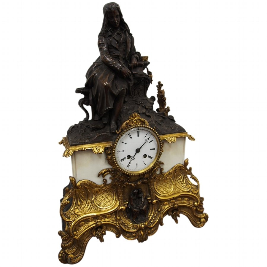 Bronze, Brass and Marble Mantle Clock