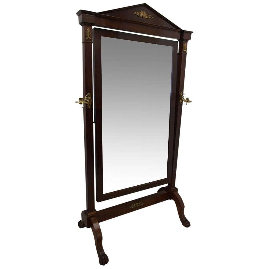 French Mahogany Cheval Mirror