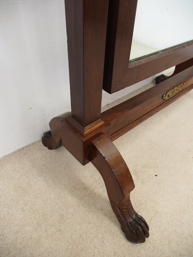 Antique French Mahogany Cheval Mirror