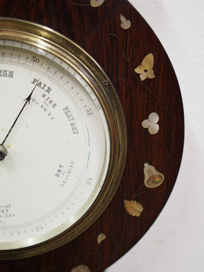 Antique Mother of Pearl and Copper Inlaid Barometer and Thermometer
