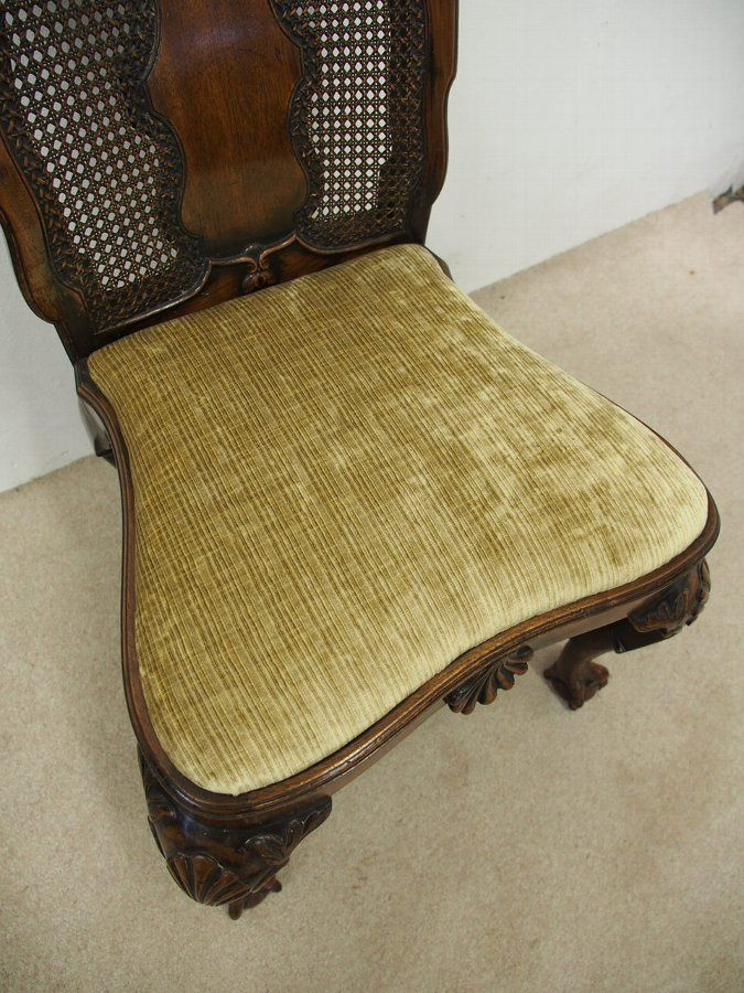 Antique George I Style Walnut Bergere Chair