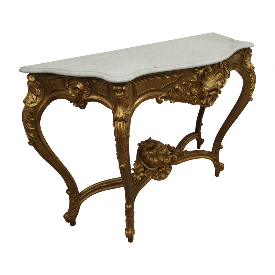 Victorian Marble Top Console Table