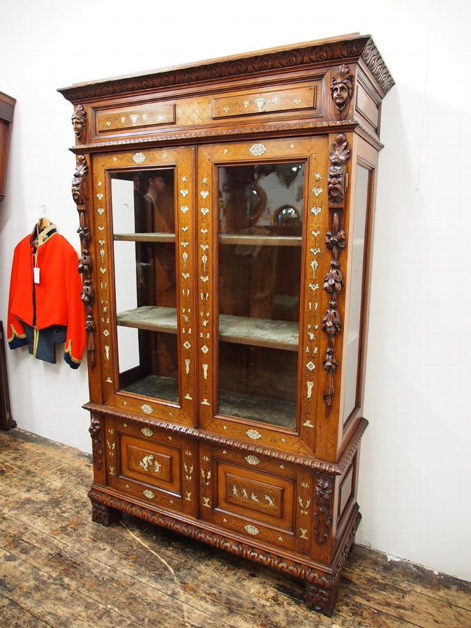 Antique Italian Inlaid Walnut Display Cabinet or Bookcase